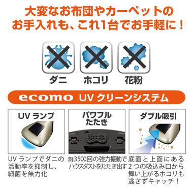 ダニ・ホコリ・花粉 【ecomo UVクリーンシステム】で 手軽に除去!